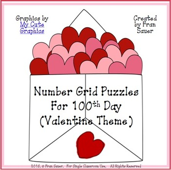 100th Day Number Grid Puzzles