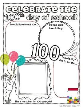 100th Day Of School Celebration Activity Sheet - K