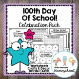 100th Day Of School! Celebration Pack Printable Worksheets & BOOM CARDS
