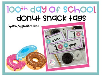 100th Day Of School Donut Snack Tags