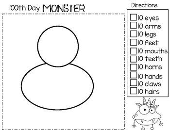 100th Day Of School MONSTER:  Freebie