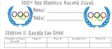 100th Day Olympics Record Sheet