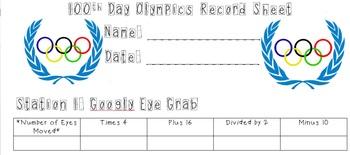 100th Day Olympics Record Sheet