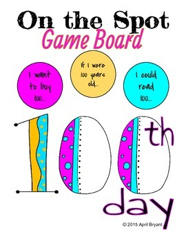 100th Day On the Spot Game Board
