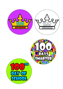 100th Day Packet, 100 Days Smarter Crown, Badges, Links Activity