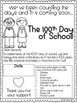 100th Day Parent Letters