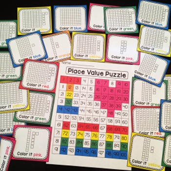 100th Day of School Math Center Place Value 100 Chart Puzzle