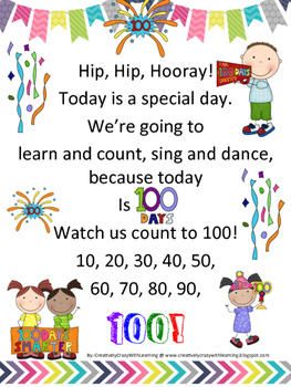 100th Day Poem Freebie from Creatively Crazy With Learning
