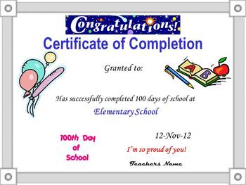 100th Day Power Point Certificate