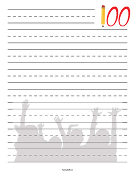 100th Day Primary Lined Paper