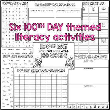 100th Day Print and G0 {Quick Prep Math and Literacy Activities}