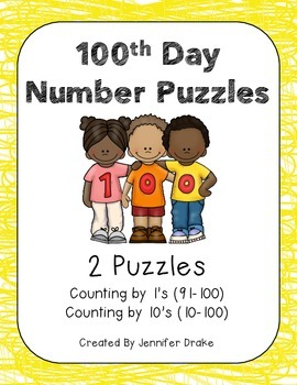 100th Day Puzzles!  2 B&W Puzzles for Number Ordering (1's