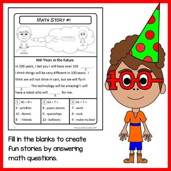 100th Day of School Math Puzzles - 4th Grade Common Core