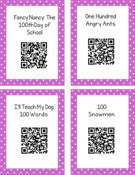 100th Day QR Code Read Aloud Listening Centers