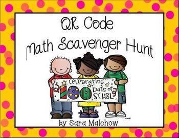 100th Day QR Code Scavenger Hunt - Math based