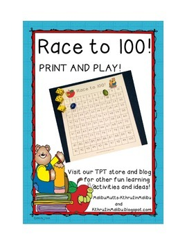 100th Day Race To 100 FREEBIE!  NO Prep!  Common Core Aligned