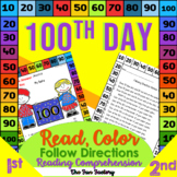 Read and Follow Directions Activities 100th Day PreK, K and 1st Grades