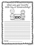 100th Day of School Writing Reflection {FREEBIE!}