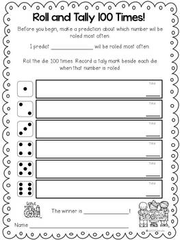 100th Day Roll a Die and Tally Freebie
