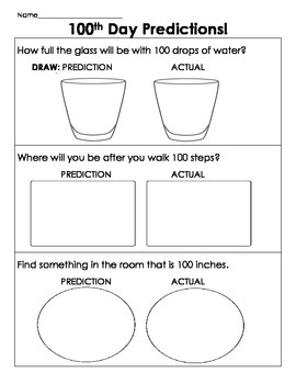 100th Day Science Measurement Predictions