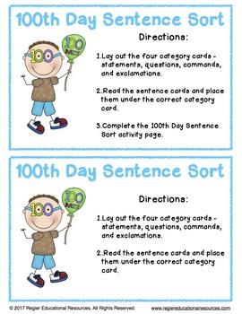 100th Day Sentence Sort: Literacy Center Activity