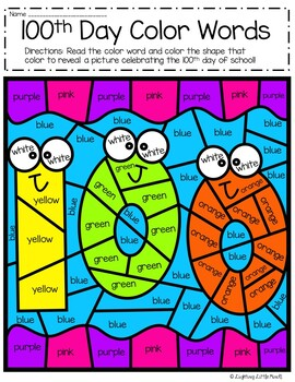 100th Day Sight Words Color by Code | 100th Day Color Words
