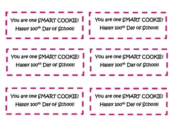 100th Day Smart Cookie Tag