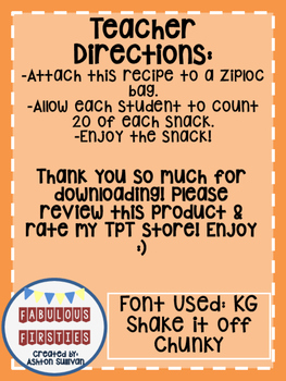 *FREEBIE* 100th Day Snack