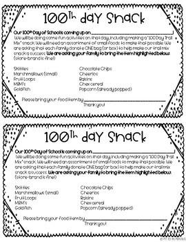 100th Day Snack Editable By Fit To Be Firsties Tpt