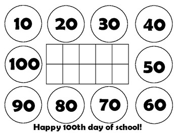 100th Day Snack Placemat