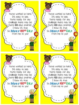 100th Day Student Gift Tags
