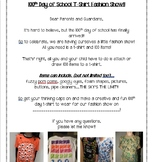 EDITABLE 100th Day T-Shirt Parent Note!