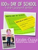 100th Day TShirt Editable Parent Letter