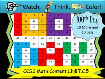 100th Day Ten More/Ten Less - Watch, Think, Color Mystery