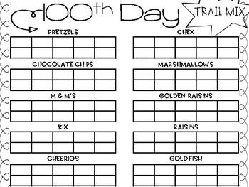100th Day Trail Mix Mat - Peanut Free!