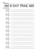 100th Day Trail Mix Worksheet