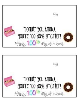 100th Day Treat Tag: Doughnut treat *FREEBIE*