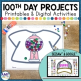 100th Day of School T-shirt Project for Seesaw™ or Google™ Classroom