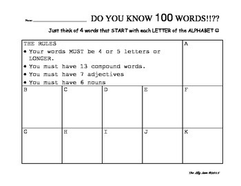 100th Day Words