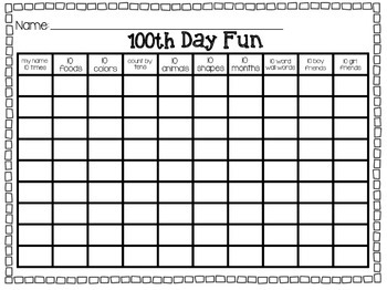 100th Day Worksheet