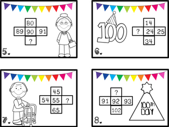 100th Day Write the Room Missing Number on {100} Hundreds Chart
