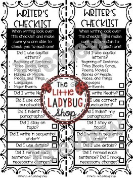 Writer's Workshop Reference Cards for Revise and Edit, Transitions, Checklists