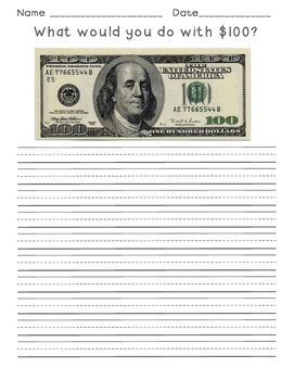 100th Day Writing Activity: What would you do with $100?