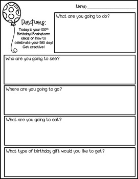 100th Day Writing Activity - You turned 100 today! What are you going to do?