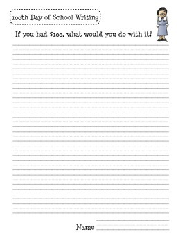 100th Day Writing Freebie
