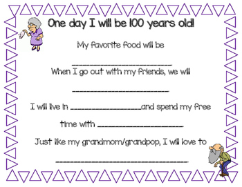 100th Day Writing Prompt - When I Am 100 Years Old