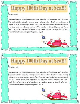 100th Day at Sea (School) Pirate Classroom Celebration