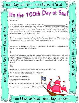 100th Day at Sea (School) Pirate Classroom Celebration