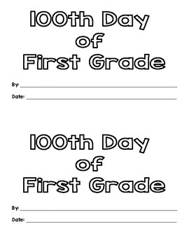 100th Day of First Grade Mini Book