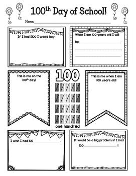 100th Day of School! FREEBIE